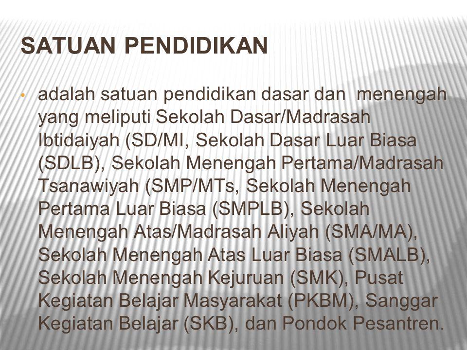 SATUAN PENDIDIKAN adalah satuan pendidikan dasar dan menengah yang meliputi Sekolah Dasar/Madrasah Ibtidaiyah (SD/MI, Sekolah Dasar Luar Biasa (SDLB),
