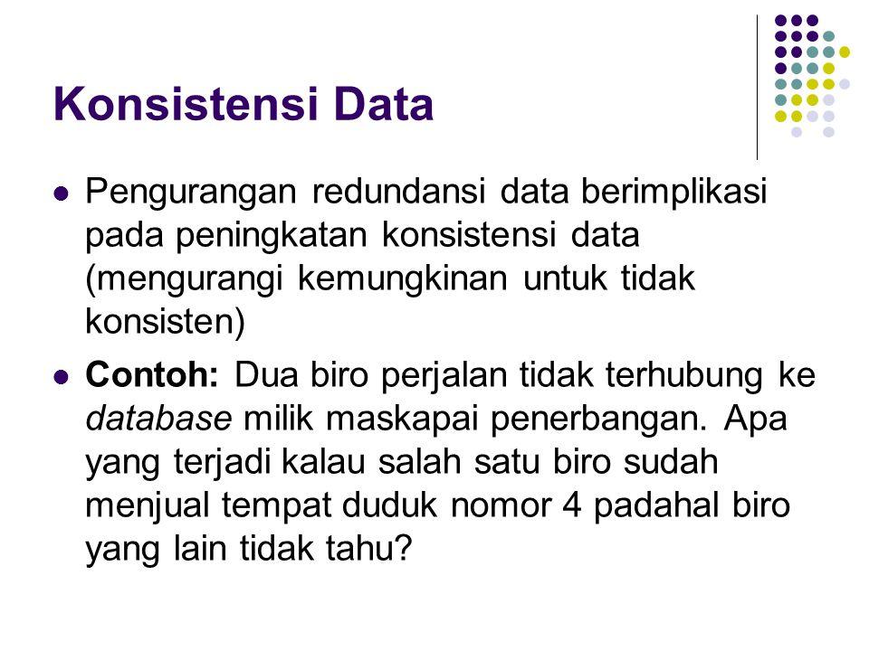 Konsistensi Data Pengurangan redundansi data berimplikasi pada peningkatan konsistensi data (mengurangi kemungkinan untuk tidak konsisten) Contoh: Dua