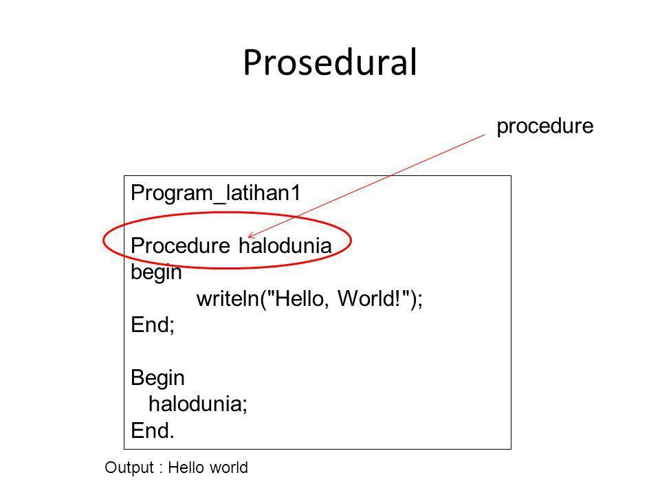 Prosedural Program_latihan1 Procedure halodunia begin writeln(