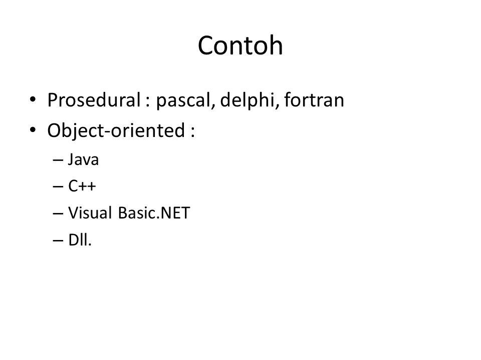 Contoh Prosedural : pascal, delphi, fortran Object-oriented : – Java – C++ – Visual Basic.NET – Dll.