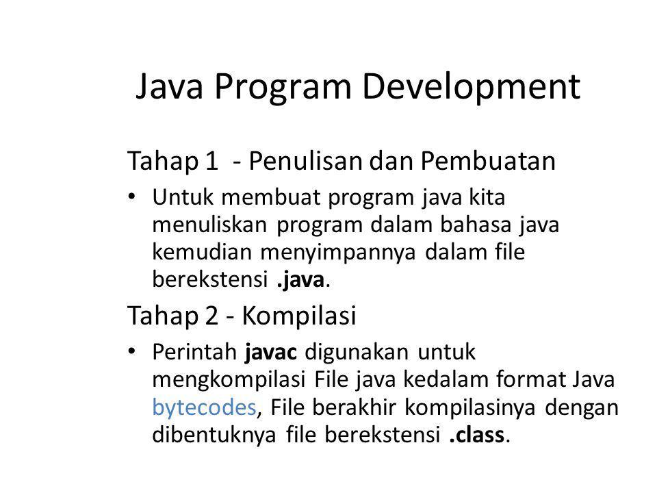 Tahap 1 - Penulisan dan Pembuatan Untuk membuat program java kita menuliskan program dalam bahasa java kemudian menyimpannya dalam file berekstensi.ja
