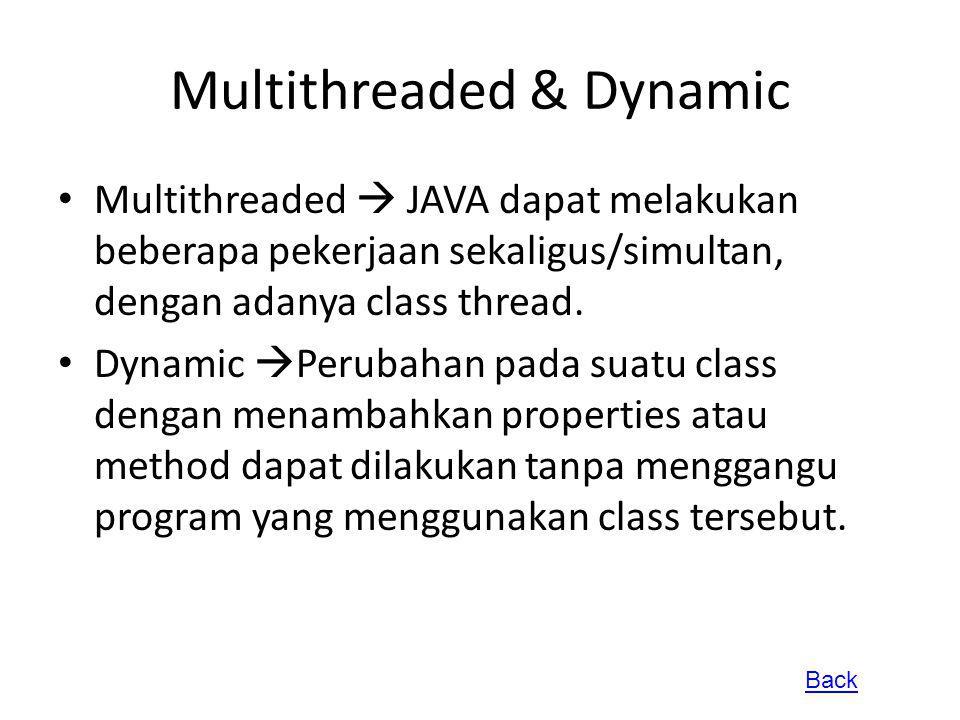 Multithreaded & Dynamic Multithreaded  JAVA dapat melakukan beberapa pekerjaan sekaligus/simultan, dengan adanya class thread. Dynamic  Perubahan pa
