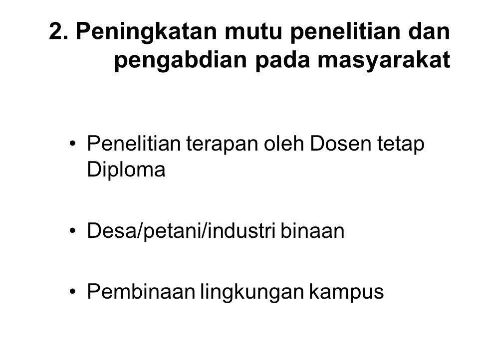 2. Peningkatan mutu penelitian dan pengabdian pada masyarakat Penelitian terapan oleh Dosen tetap Diploma Desa/petani/industri binaan Pembinaan lingku
