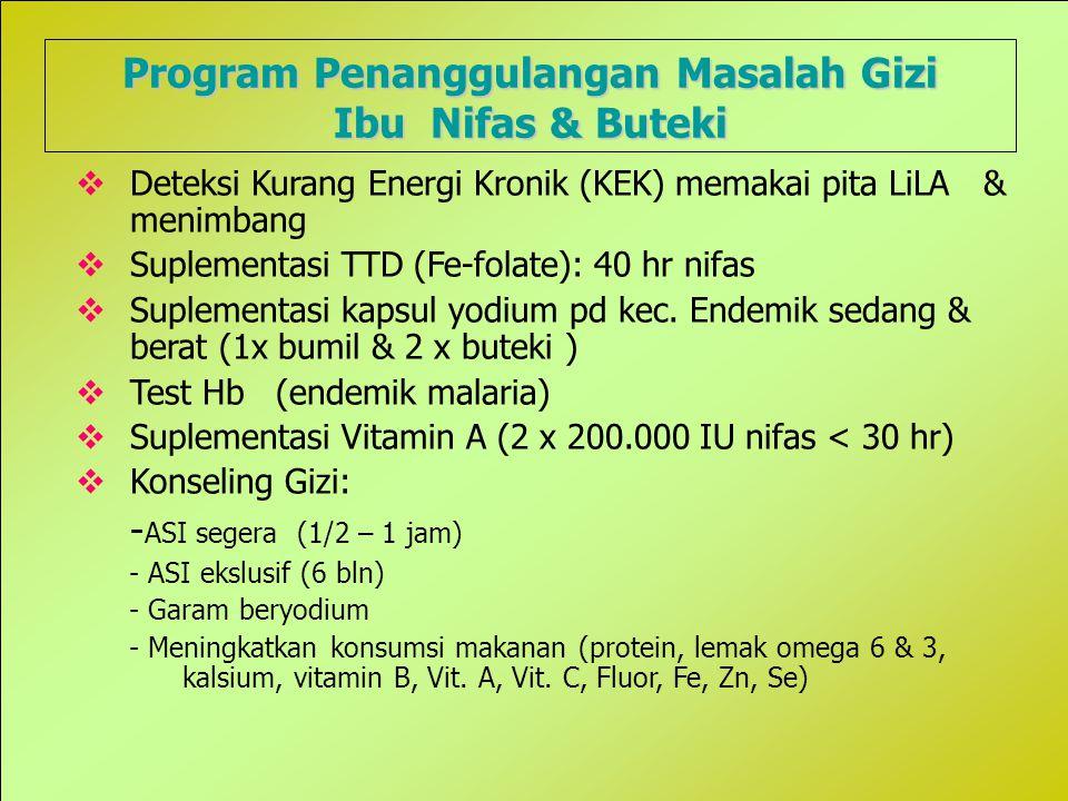 23 Program Penanggulangan Masalah Gizi Ibu Nifas & Buteki  Deteksi Kurang Energi Kronik (KEK) memakai pita LiLA & menimbang  Suplementasi TTD (Fe-folate): 40 hr nifas  Suplementasi kapsul yodium pd kec.