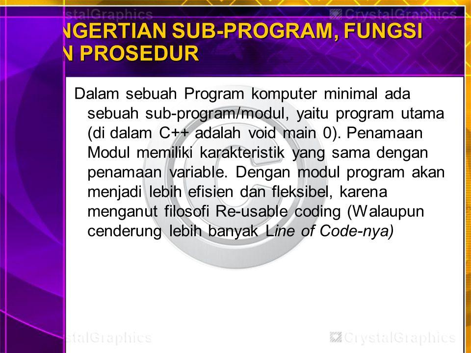 PENGERTIAN SUB-PROGRAM, FUNGSI DAN PROSEDUR Dalam sebuah Program komputer minimal ada sebuah sub-program/modul, yaitu program utama (di dalam C++ adal