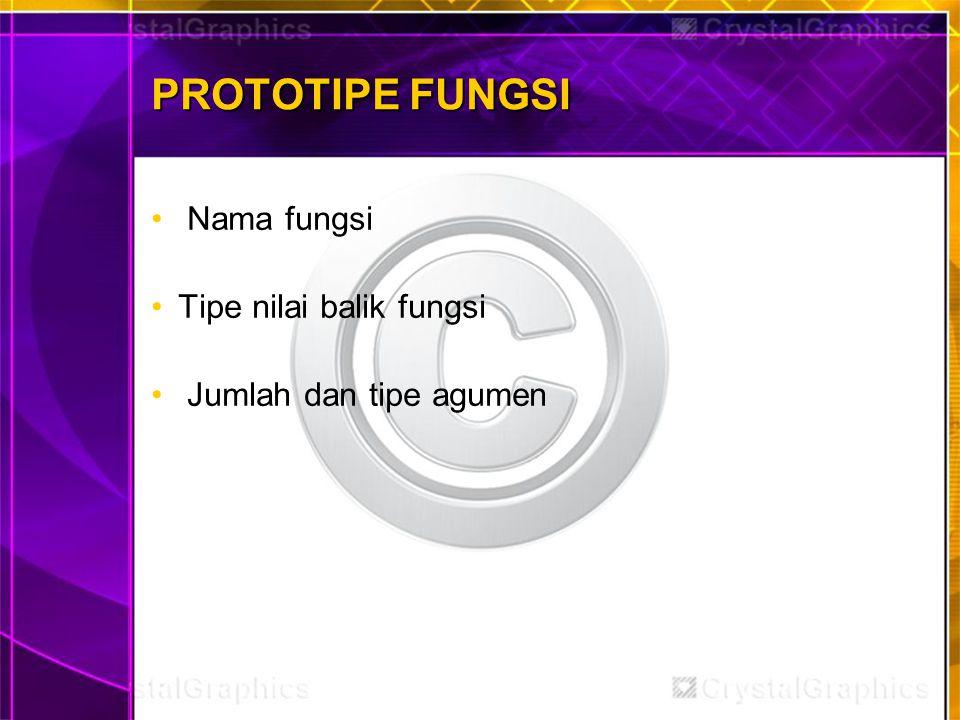 PROTOTIPE FUNGSI Nama fungsi Tipe nilai balik fungsi Jumlah dan tipe agumen