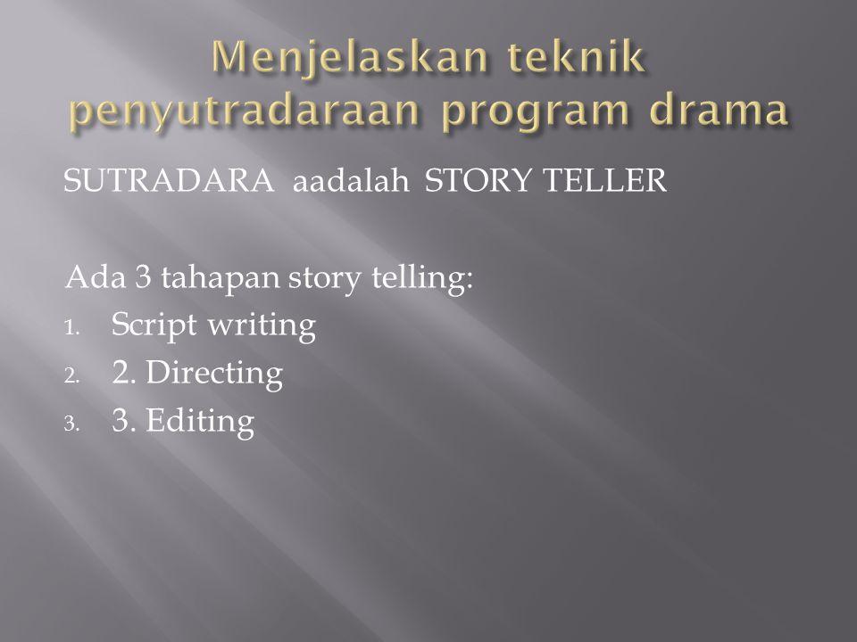 SUTRADARA aadalah STORY TELLER Ada 3 tahapan story telling: 1. Script writing 2. 2. Directing 3. 3. Editing