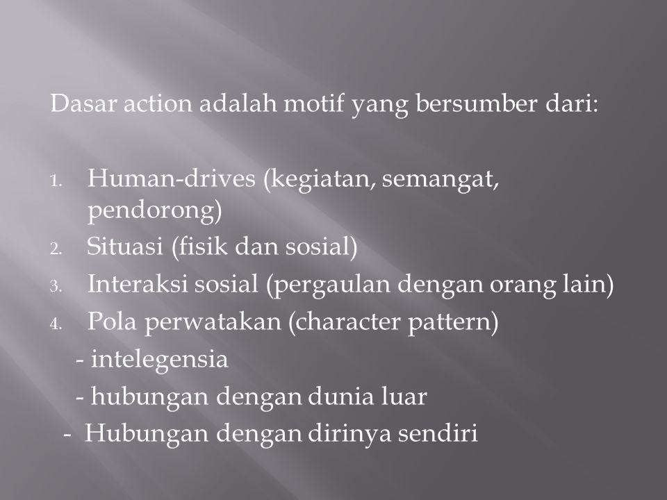Dasar action adalah motif yang bersumber dari: 1. Human-drives (kegiatan, semangat, pendorong) 2. Situasi (fisik dan sosial) 3. Interaksi sosial (perg