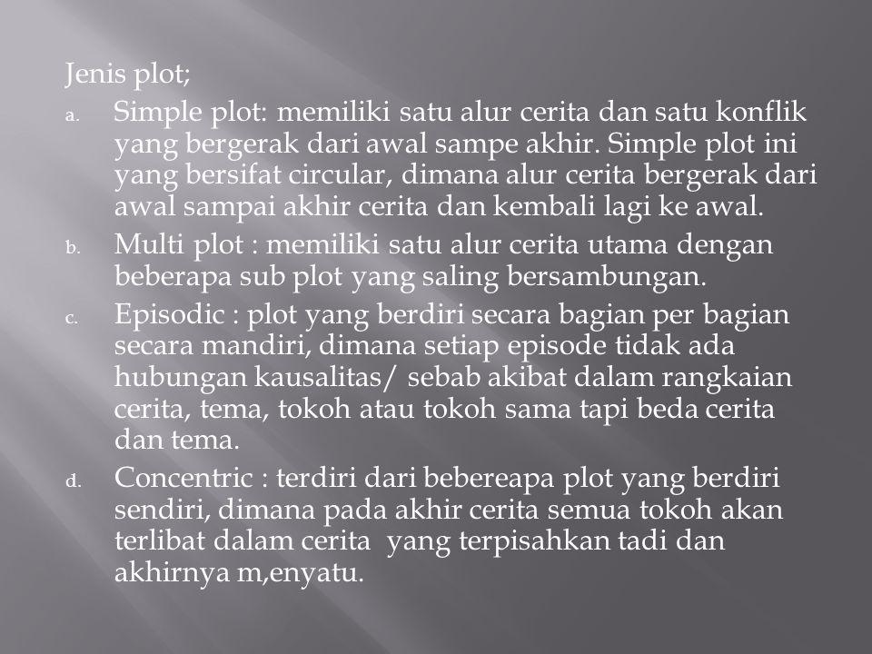 Jenis plot; a. Simple plot: memiliki satu alur cerita dan satu konflik yang bergerak dari awal sampe akhir. Simple plot ini yang bersifat circular, di