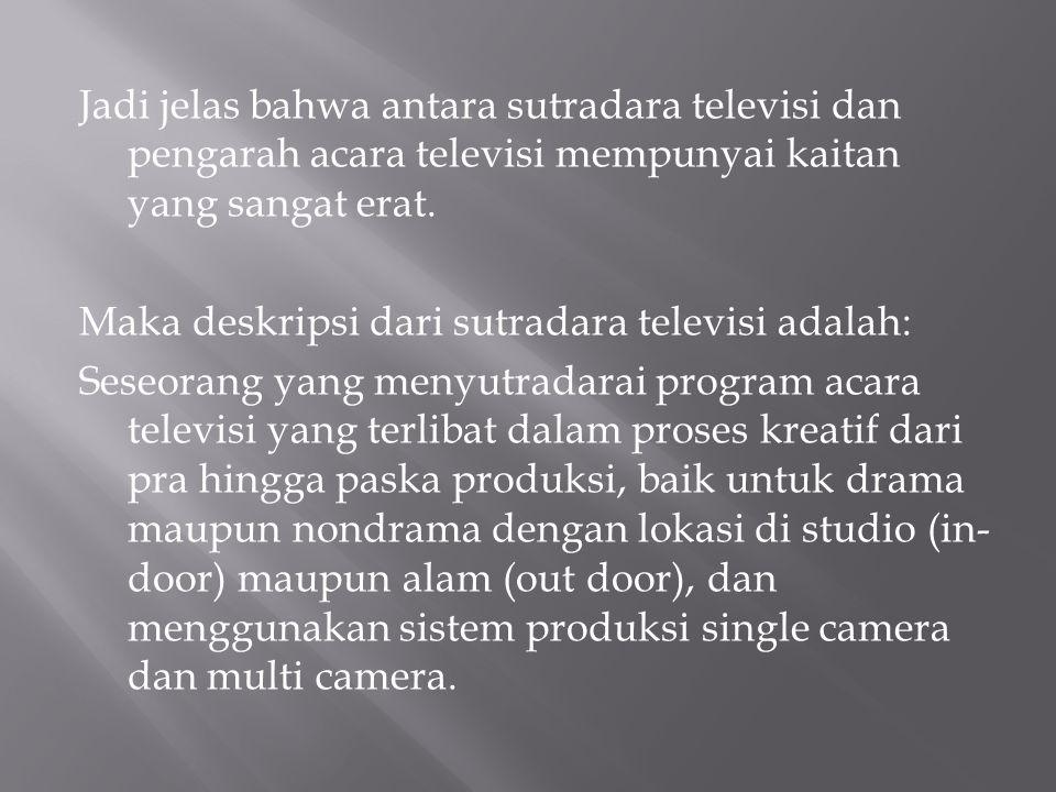 Sutradara pentasPengarah acaraSutradara TV Pra produksi- Terlibat dslsm proses kreatif pembuatan naskah - Memilih pemain - Mengatur lokasi - Tidak terlibat proses kreatif - bertugas mengatur blocking pemain dan kamera - Terlibat seluruh proses kreatif, teknis, dan produksi.