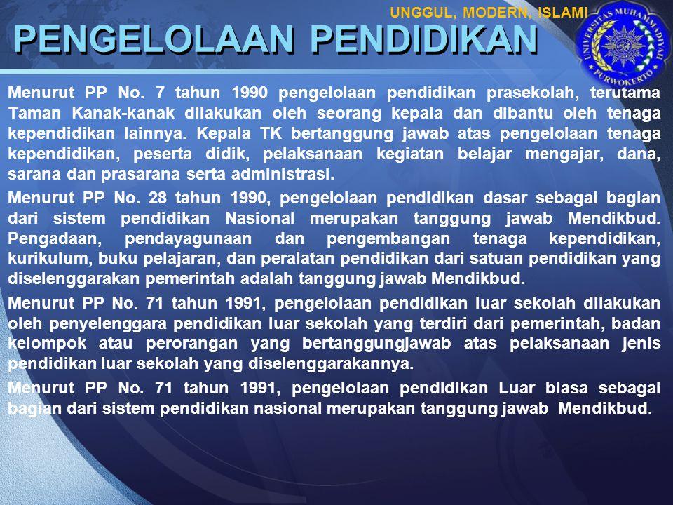 LOGO PENGELOLAAN PENDIDIKAN Menurut PP No. 7 tahun 1990 pengelolaan pendidikan prasekolah, terutama Taman Kanak-kanak dilakukan oleh seorang kepala da