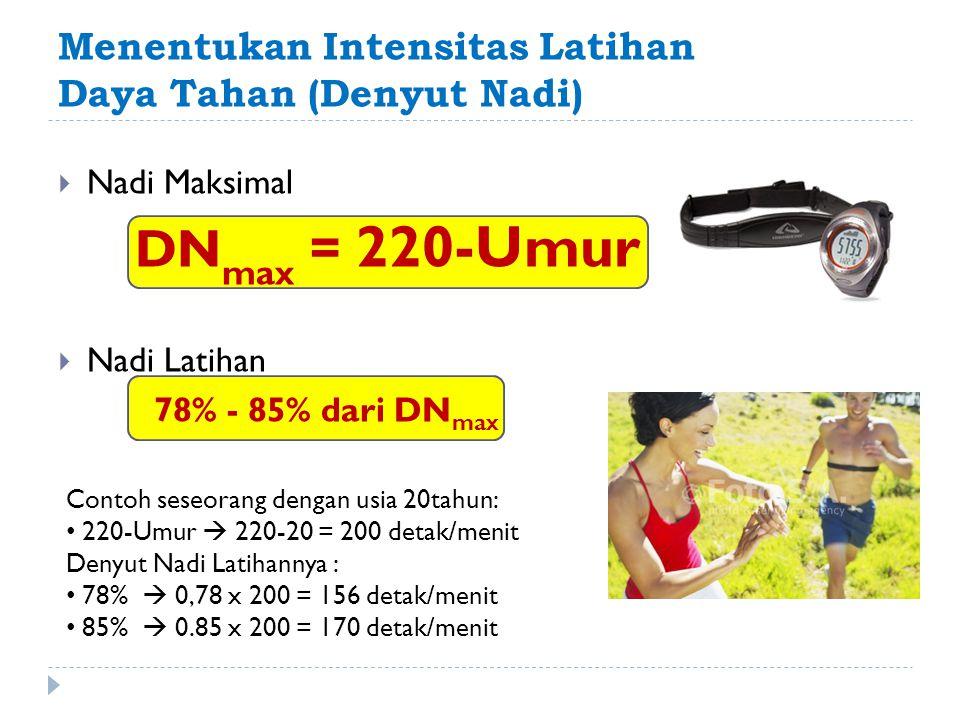 Menentukan Intensitas Latihan Daya Tahan (Denyut Nadi)  Nadi Maksimal DN max = 220-Umur  Nadi Latihan 78% - 85% dari DN max Contoh seseorang dengan
