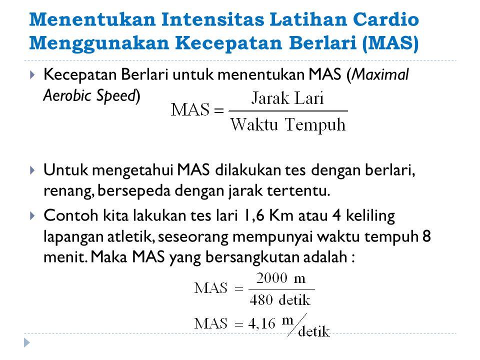 Menentukan Intensitas Latihan Cardio Menggunakan Kecepatan Berlari (MAS)  Kecepatan Berlari untuk menentukan MAS (Maximal Aerobic Speed)  Untuk meng