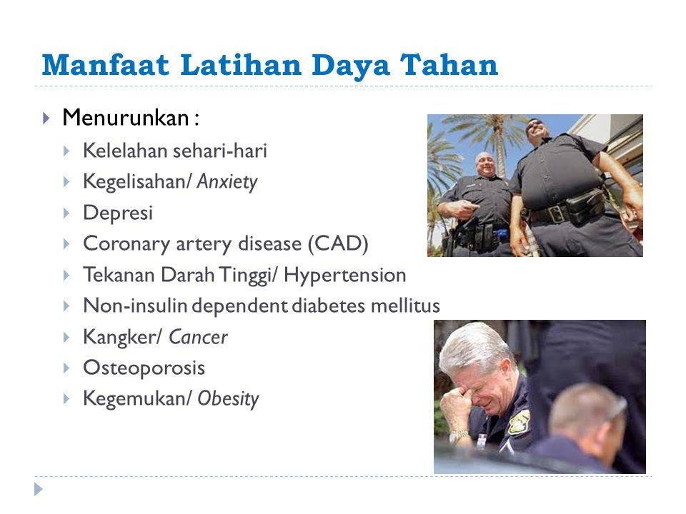 Manfaat Latihan Daya Tahan  Menurunkan :  Kelelahan sehari-hari  Kegelisahan/ Anxiety  Depresi  Coronary artery disease (CAD)  Tekanan Darah Tin
