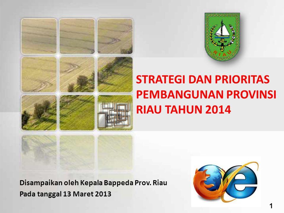STRATEGI DAN PRIORITAS PEMBANGUNAN PROVINSI RIAU TAHUN 2014 Disampaikan oleh Kepala Bappeda Prov. Riau Pada tanggal 13 Maret 2013 1