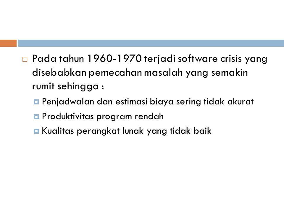  Pada tahun 1960-1970 terjadi software crisis yang disebabkan pemecahan masalah yang semakin rumit sehingga :  Penjadwalan dan estimasi biaya sering