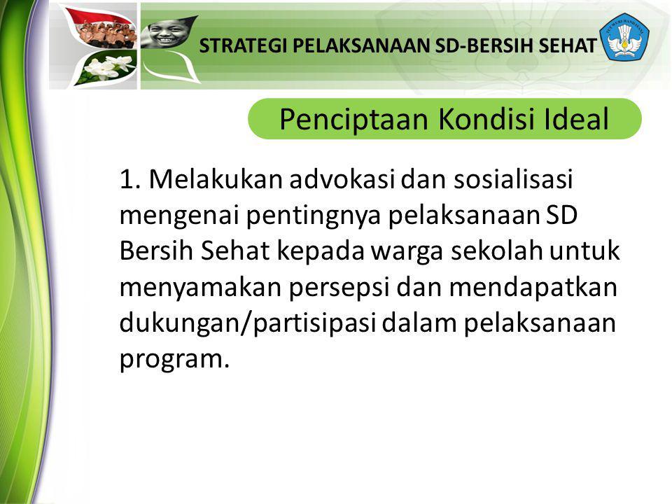 STRATEGI PELAKSANAAN SD-BERSIH SEHAT Penciptaan Kondisi Ideal Melakukan advokasi dan sosialisasi rja pelaksanaan program SD-Bersih Sehat, atau kondisi lingkungan sekolah 1.
