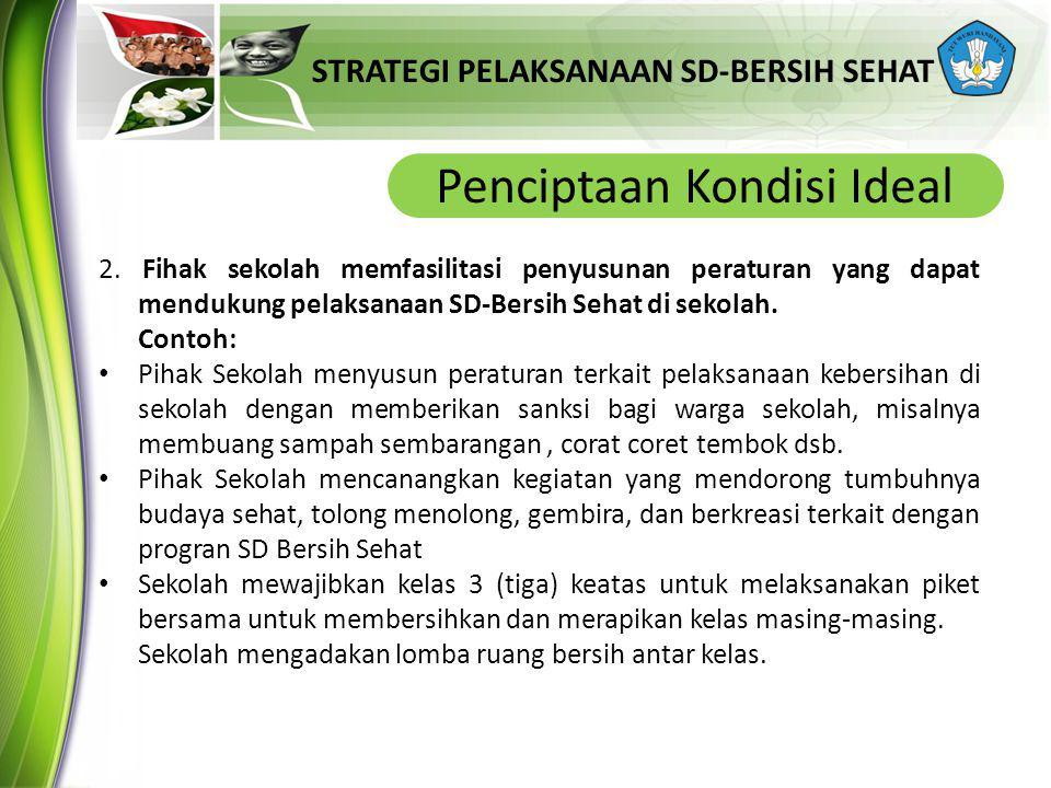 STRATEGI PELAKSANAAN SD-BERSIH SEHAT Penciptaan Kondisi Ideal 2. Fihak sekolah memfasilitasi penyusunan peraturan yang dapat mendukung pelaksanaan SD-