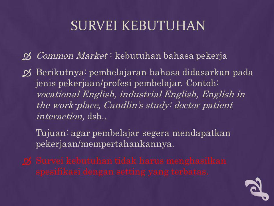 SURVEI KEBUTUHAN  Common Market : kebutuhan bahasa pekerja  Berikutnya: pembelajaran bahasa didasarkan pada jenis pekerjaan/profesi pembelajar. Cont