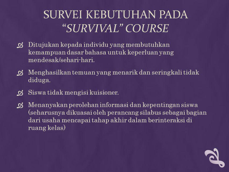 """SURVEI KEBUTUHAN PADA """"SURVIVAL"""" COURSE  Ditujukan kepada individu yang membutuhkan kemampuan dasar bahasa untuk keperluan yang mendesak/sehari-hari."""