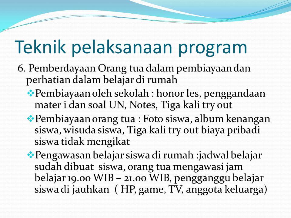 Teknik pelaksanaan program 6.