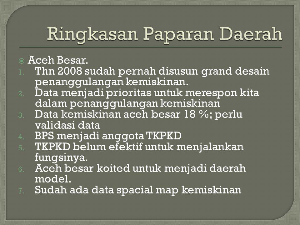  Aceh Besar. 1. Thn 2008 sudah pernah disusun grand desain penanggulangan kemiskinan. 2. Data menjadi prioritas untuk merespon kita dalam penanggulan