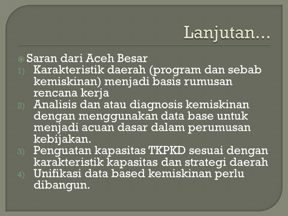  Saran dari Aceh Besar 1) Karakteristik daerah (program dan sebab kemiskinan) menjadi basis rumusan rencana kerja 2) Analisis dan atau diagnosis kemi