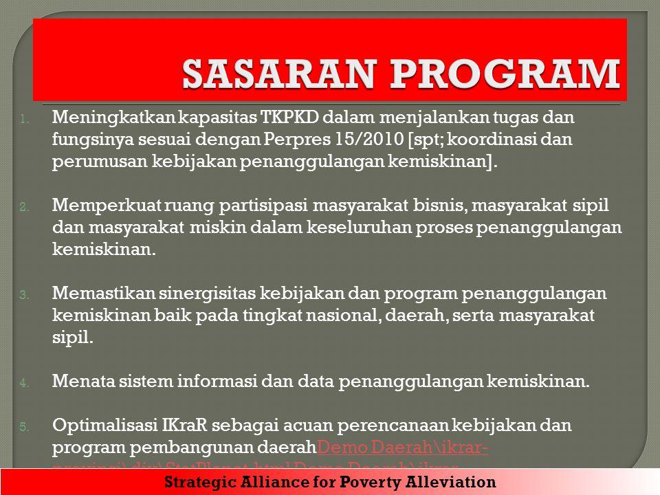 1. Meningkatkan kapasitas TKPKD dalam menjalankan tugas dan fungsinya sesuai dengan Perpres 15/2010 [spt; koordinasi dan perumusan kebijakan penanggul