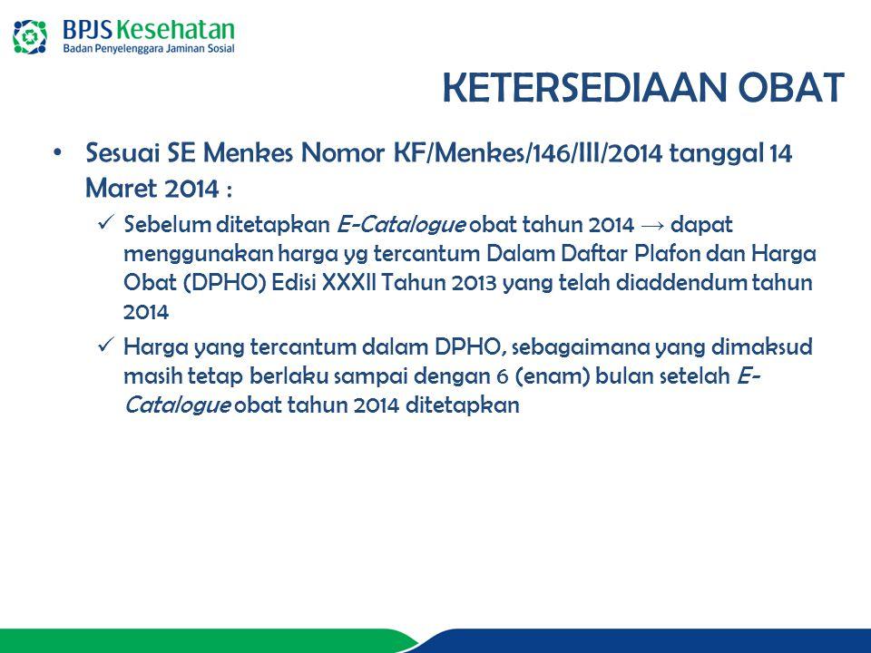 Sesuai SE Menkes Nomor KF/Menkes/146/III/2014 tanggal 14 Maret 2014 : Sebelum ditetapkan E-Catalogue obat tahun 2014 → dapat menggunakan harga yg tercantum Dalam Daftar Plafon dan Harga Obat (DPHO) Edisi XXXII Tahun 2013 yang telah diaddendum tahun 2014 Harga yang tercantum dalam DPHO, sebagaimana yang dimaksud masih tetap berlaku sampai dengan 6 (enam) bulan setelah E- Catalogue obat tahun 2014 ditetapkan KETERSEDIAAN OBAT
