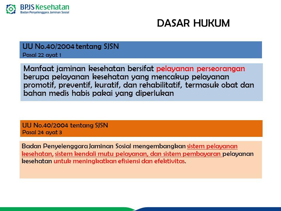 UU No.40/2004 tentang SJSN Pasal 22 ayat 1 Manfaat jaminan kesehatan bersifat pelayanan perseorangan berupa pelayanan kesehatan yang mencakup pelayana