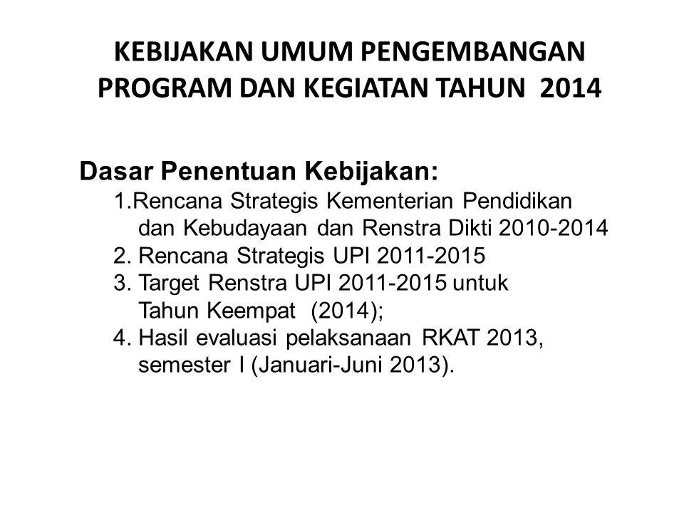 KEBIJAKAN UMUM PENGEMBANGAN PROGRAM DAN KEGIATAN TAHUN 2014 Dasar Penentuan Kebijakan: 1.Rencana Strategis Kementerian Pendidikan dan Kebudayaan dan R
