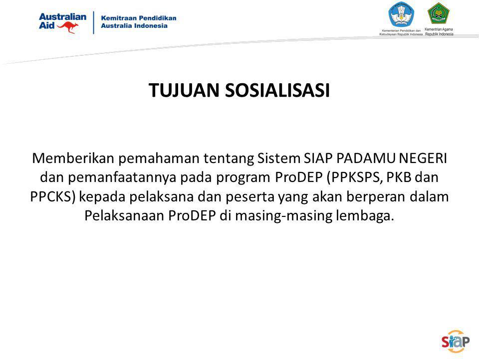 TUJUAN SOSIALISASI Memberikan pemahaman tentang Sistem SIAP PADAMU NEGERI dan pemanfaatannya pada program ProDEP (PPKSPS, PKB dan PPCKS) kepada pelaks