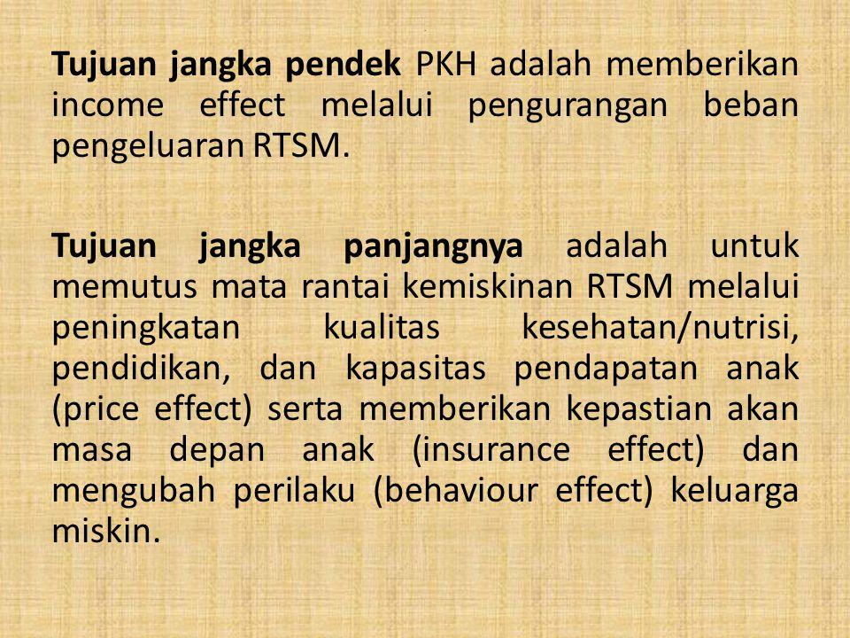 . Tujuan jangka pendek PKH adalah memberikan income effect melalui pengurangan beban pengeluaran RTSM. Tujuan jangka panjangnya adalah untuk memutus m