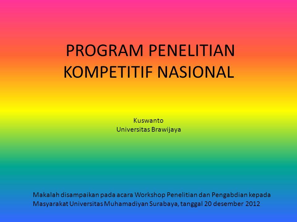 PROGRAM PENELITIAN KOMPETITIF NASIONAL Kuswanto Universitas Brawijaya Makalah disampaikan pada acara Workshop Penelitian dan Pengabdian kepada Masyarakat Universitas Muhamadiyan Surabaya, tanggal 20 desember 2012