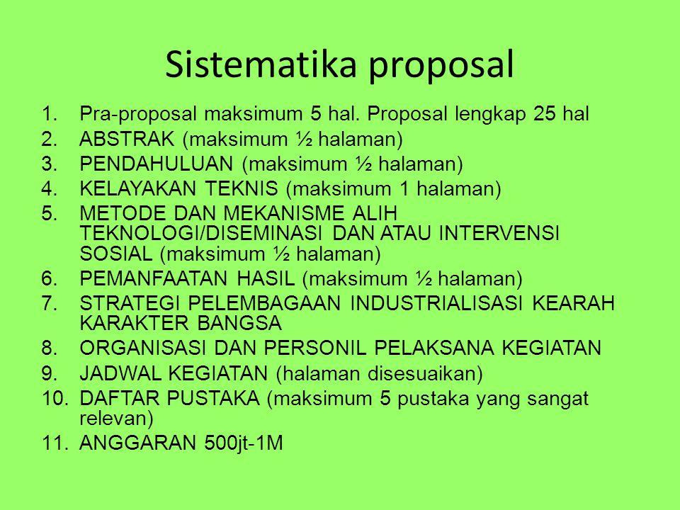 Sistematika proposal 1.Pra-proposal maksimum 5 hal.