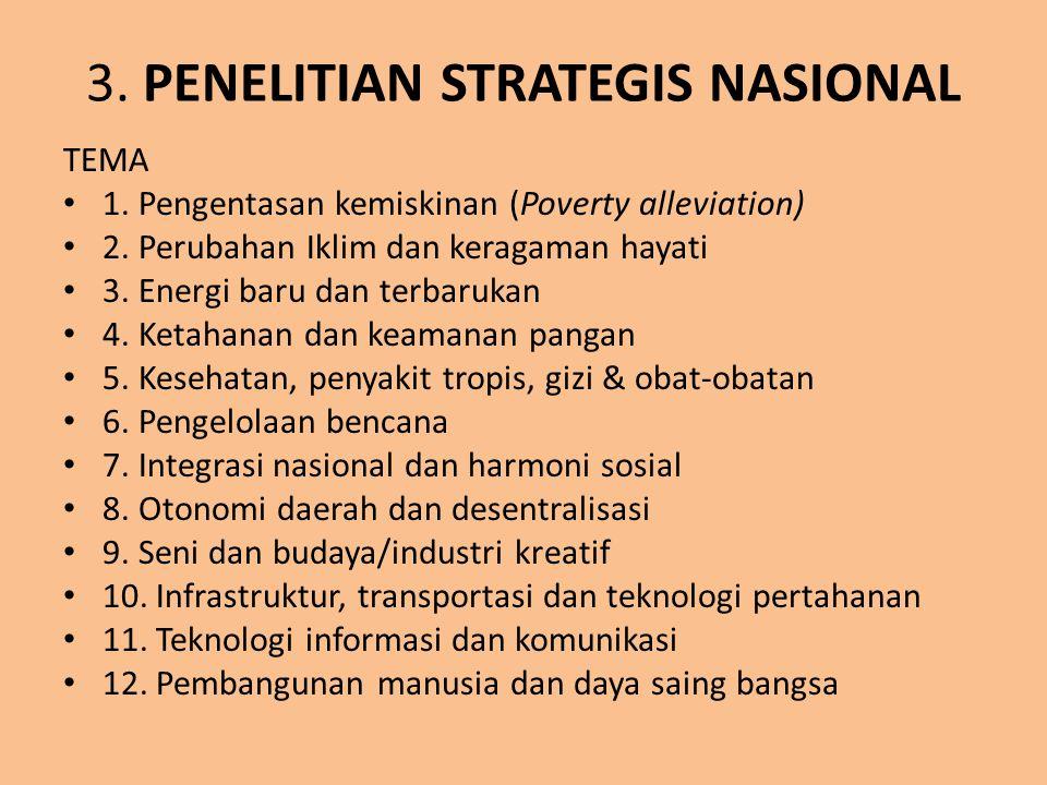 3.PENELITIAN STRATEGIS NASIONAL TEMA 1. Pengentasan kemiskinan (Poverty alleviation) 2.