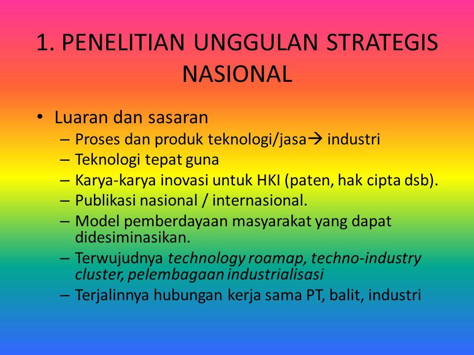 1. PENELITIAN UNGGULAN STRATEGIS NASIONAL Luaran dan sasaran – Proses dan produk teknologi/jasa  industri – Teknologi tepat guna – Karya-karya inovas