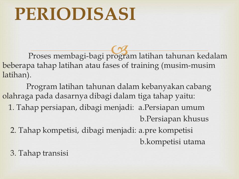  Proses membagi-bagi program latihan tahunan kedalam beberapa tahap latihan atau fases of training (musim-musim latihan). Program latihan tahunan dal