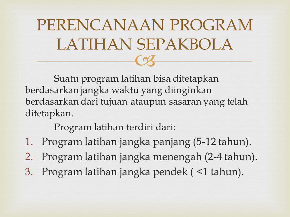  Suatu program latihan bisa ditetapkan berdasarkan jangka waktu yang diinginkan berdasarkan dari tujuan ataupun sasaran yang telah ditetapkan. Progra