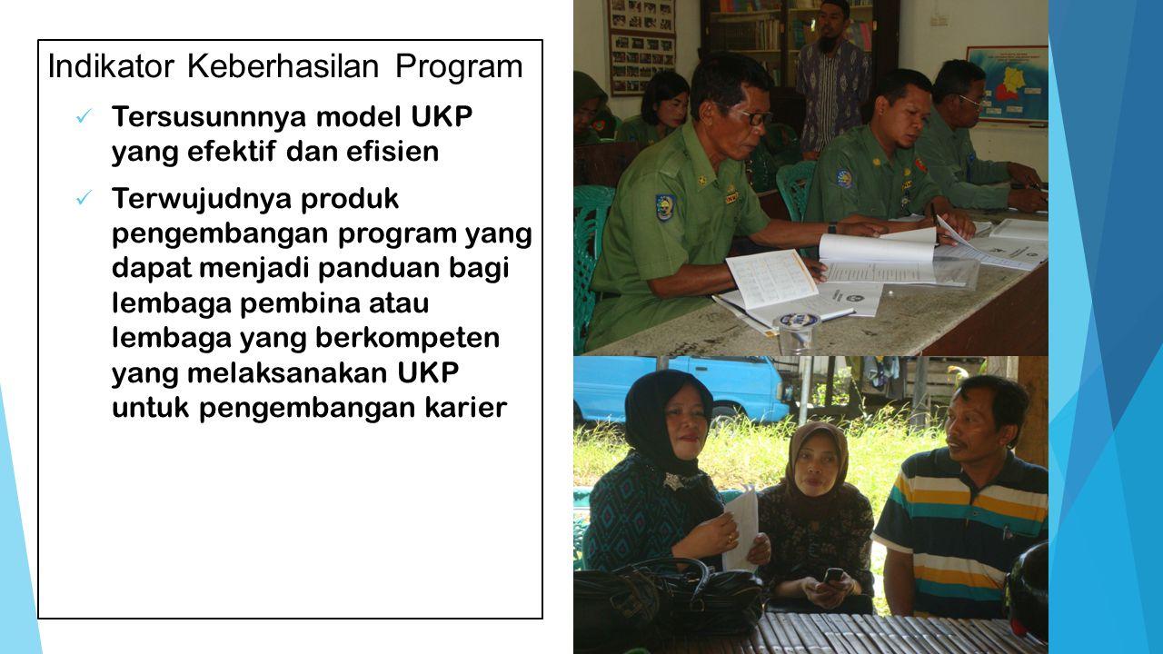 Indikator Keberhasilan Program Tersusunnnya model UKP yang efektif dan efisien Terwujudnya produk pengembangan program yang dapat menjadi panduan bagi lembaga pembina atau lembaga yang berkompeten yang melaksanakan UKP untuk pengembangan karier