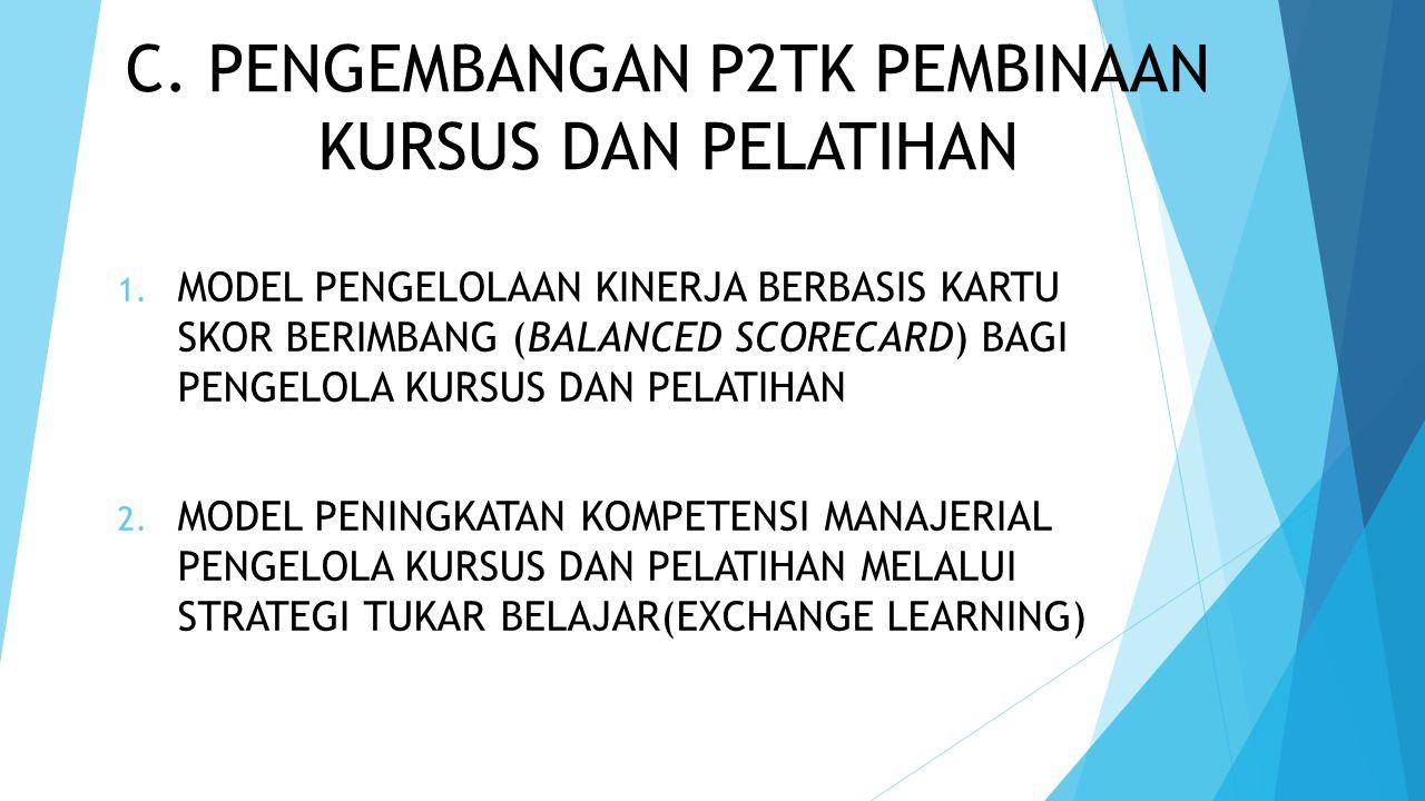 C.PENGEMBANGAN P2TK PEMBINAAN KURSUS DAN PELATIHAN 1.