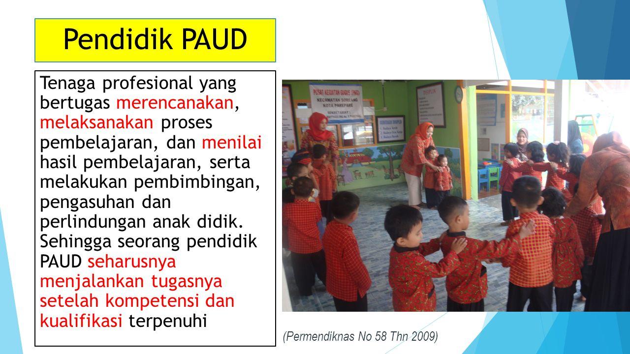 Pendidik PAUD Tenaga profesional yang bertugas merencanakan, melaksanakan proses pembelajaran, dan menilai hasil pembelajaran, serta melakukan pembimbingan, pengasuhan dan perlindungan anak didik.