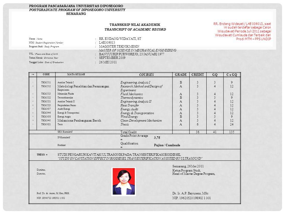 RR. Endang Widayati / L4E 009013, saat ini sudah terdaftar sebagai Calon Wisudawati Periode Juli 2011 sebagai Wisudawati Cumlaude dan Terbaik dari Pro