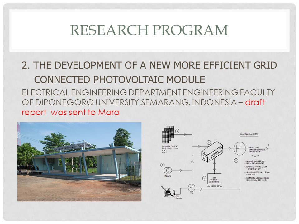 RESEARCH PROGRAM 2. THE DEVELOPMENT OF A NEW MORE EFFICIENT GRID CONNECTED PHOTOVOLTAIC MODULE ELECTRICAL ENGINEERING DEPARTMENT ENGINEERING FACULTY O