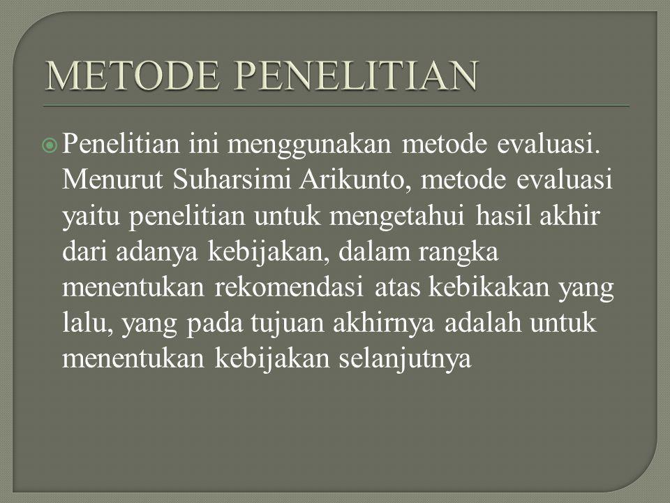  Penelitian ini menggunakan metode evaluasi. Menurut Suharsimi Arikunto, metode evaluasi yaitu penelitian untuk mengetahui hasil akhir dari adanya ke