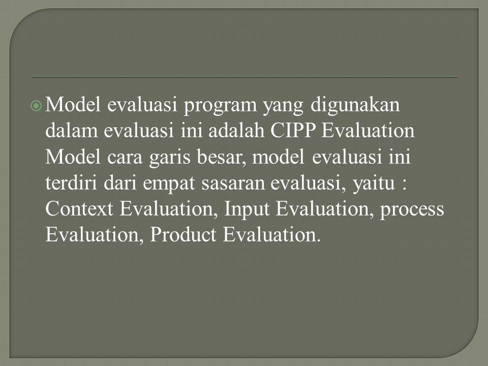  Model evaluasi program yang digunakan dalam evaluasi ini adalah CIPP Evaluation Model cara garis besar, model evaluasi ini terdiri dari empat sasaran evaluasi, yaitu : Context Evaluation, Input Evaluation, process Evaluation, Product Evaluation.