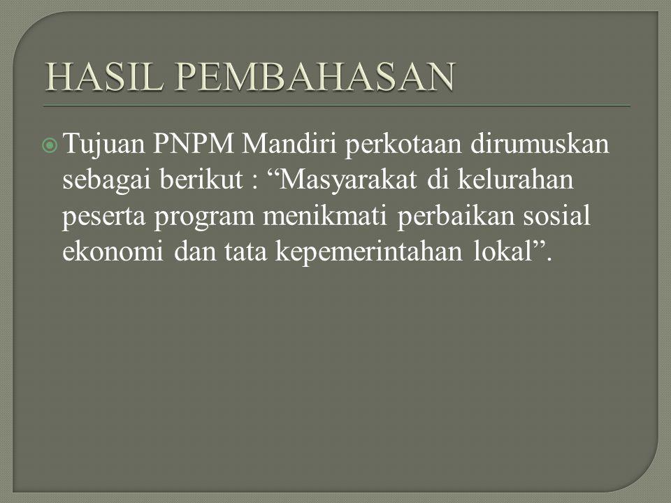  Tujuan PNPM Mandiri perkotaan dirumuskan sebagai berikut : Masyarakat di kelurahan peserta program menikmati perbaikan sosial ekonomi dan tata kepemerintahan lokal .