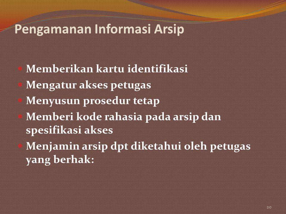 Pengamanan Informasi Arsip Memberikan kartu identifikasi Mengatur akses petugas Menyusun prosedur tetap Memberi kode rahasia pada arsip dan spesifikas