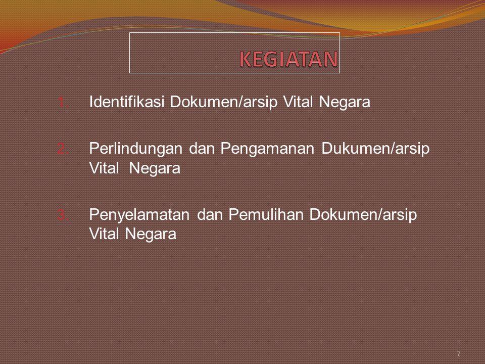 1. Identifikasi Dokumen/arsip Vital Negara 2. Perlindungan dan Pengamanan Dukumen/arsip Vital Negara 3. Penyelamatan dan Pemulihan Dokumen/arsip Vital