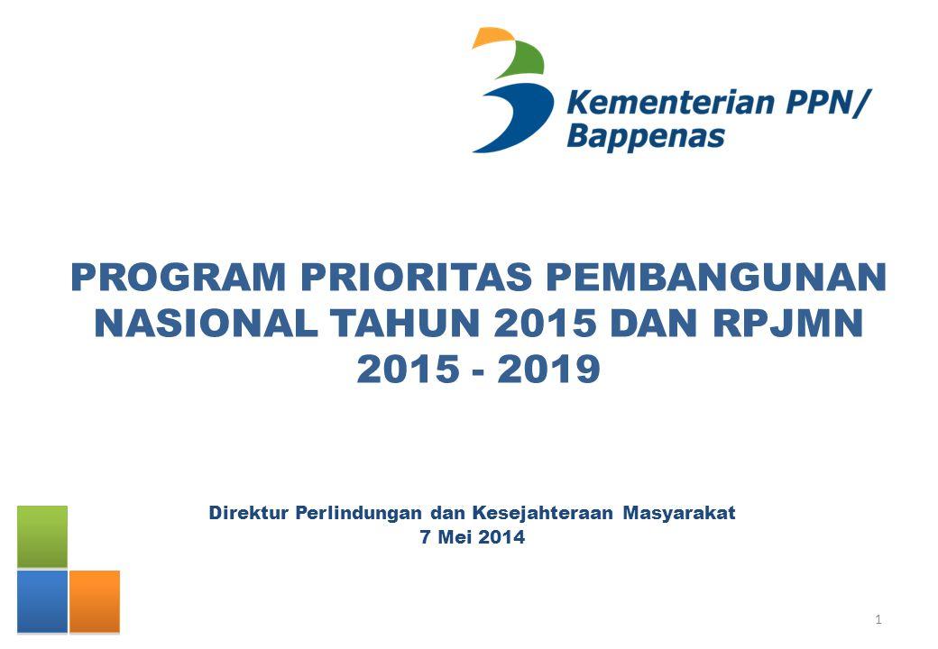 PROGRAM PRIORITAS PEMBANGUNAN NASIONAL TAHUN 2015 DAN RPJMN 2015 - 2019 Direktur Perlindungan dan Kesejahteraan Masyarakat 7 Mei 2014 1